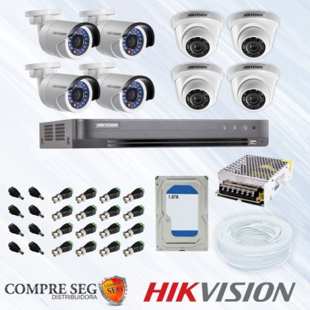 Kit CFTV 1MP 8 Canais - Hikvision