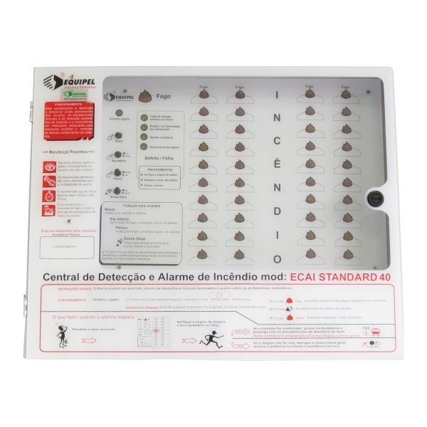 Central de Alarme de Incêndio 12V/40 Setores sem Bateria - Equipel